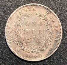 AU Rare and Attractive 1840 East India Company One Rupee Victoria Silver Coin!