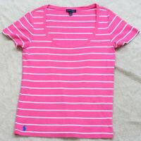 XL Short Sleeve Ralph Lauren Pink White Striped Crewneck Tee T-Shirt Top Woman's