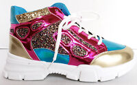 Women's Fashion Glitter Neon Pink Blue High Top Sneaker Shoes Sizes 5 6 7 8 9