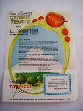 Bright 1952 Advertising Brochure for Florida Tree Ripened Citrus Fruits *