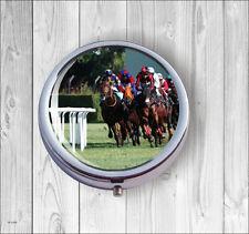 Horses Running For Race Pill Box Round -hnr5Z