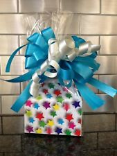 Stars Candy Gift Box-Basket Wrapped With Red Bow & Card