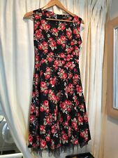 Black and Roses Rock n Roll Dress size 10 by Fever Fish