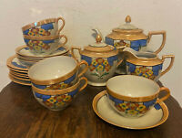 Vtg Noritake Peach Lusterware Tea Set - Pot, Sugar Bowl, Creamer, Cup, Saucer