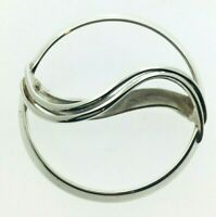 Modernist Style Sterling Silver Wave Brooch Edinburgh 1989 Scottish 43.8mm Diam
