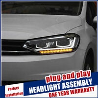 For VW Touran Headlights 16-19 Double Beam Lens Projector Xenon HID LED DRL RHD