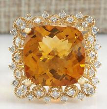 13.50 Carat Natural Citrine 14K Yellow Gold Diamond Ring