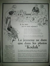 PUBLICITE DE PRESSE KODAK APPAREIL PHOTO PELLICULE PAPIER A LA MER AD 1926