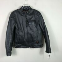Milwaukee Leather Motorcycle Jacket Men's S Black Heavy Thick Hide Leather EUC
