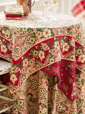 April Cornell Tablecloth Kashmere Paisley Collection 36x36 NWT 100% Cotton Red