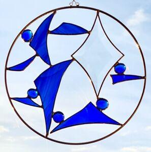 Tiffany Fensterbild, Sonnenfänger blau, Facettenschliff,  20cm Durchmesser