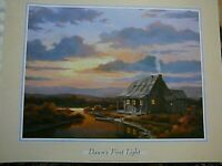 T.C. CHIU DAWN'S FIRST LIGHT 2000 POSTER PRINT SUNRISE BOATING FISHING, NICE