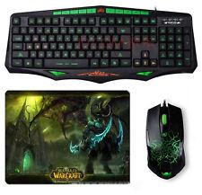 SUNT AK93 Green Ray Waterproof Backlit Gaming Keyboard + 6D Usb Gaming Mouse SET