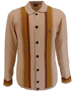 Gabicci Vintage Retro Oat Beige Long Sleeved Cardigan