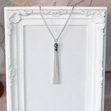 Vintage/flapper/Gatsby/1920's long silver necklace with silver beads & tassel
