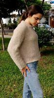 TINKUY PERU 100% Baby Alpaca Wool Womens Oversized Crop Beige Pullover Sweater S
