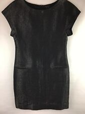 Theory Women's Size 8 Shift Dress Wool Linen Blend Shimmery Gray-Black Short Slv