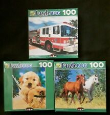 New 100 Piece Jigsaw Puzzle (Lot of 3) Fire Engine Dog Puppy Horses