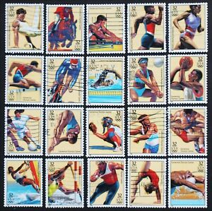 U.S. Used #3068a-t 32c 1996 Centennial Olympics Complete Set of 20. Choice!