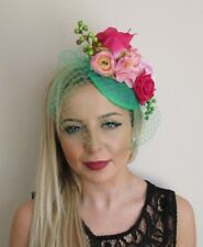 Green Hot Light Pink Rose Birdcage Veil Flower Hair Fascinator Hat Clip 50s 5698