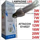 LAMPADINA LED LAMPADA E14 / E27 LUCE CALDA FREDDA 3W 5W 7W 9W 12W 16W 20W 24W30W
