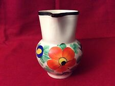 "Art Deco Pottery Czech Pitcher Hand Painted in  ""Czechoslovakia""  - 7"" Flowers"