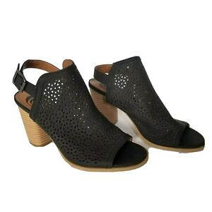 Peep Toe Ankle Booties Size 10 Black  sling back Laser Cut Charming Charlie boot