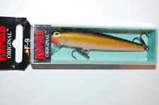 "rapala f-9 gold floating minnow original f09 g 3 1/2"" 3/16oz"