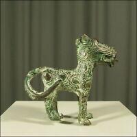 59533) Afrikanische Bronze Leoparden-Figur Kamerun Afrika KUNST