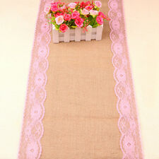 30cmx275cm Hessian Burlap Vintage Wedding Rustic Decoration Lace Table Runner AU Hot Pink