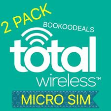 2 Pack Total Wireless 4G Standard/Micro Sim Card Cell Phone Service Cheap Cheap