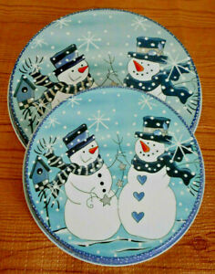 4 Piece Country Snowman Christmas Blue Electric STOVE RANGE BURNER COVERS Round
