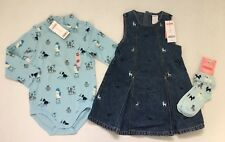 NWT Gymboree My Best Friend 3 3T Dog Salon Bodysuit Denim Jumper Dress & Socks