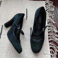 Franco Sarto Black Suede Mary Jane Buckle Heels Women's Size 8