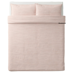 IKEA Skogsalm Full / Queen Duvet Cover and 2 Pillowcases Set Light Pink Cotton