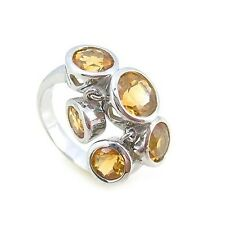 Brand New - Sterling Silver 925 Natural Citrines dangling bezels Dress Ring
