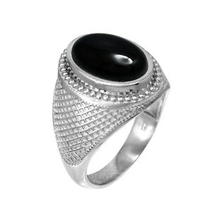 Sterling Silver Oval Onyx Cabochon Mens Statement Ring