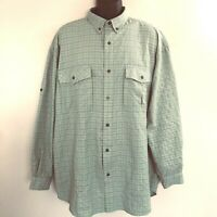 Men's North Face Shirt Size XL Button Down Vented Hiking Fishing Camping Green