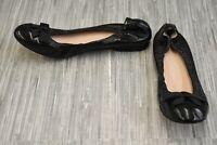 **Stuart Weitzman Raven Crinkle Leather Skimmer Flats, Women's Size 7.5M, Black