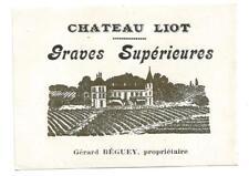 Etiquette Chateau Liot Années 20.Bel état pour cette peu commune étiquette.