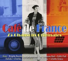 CAFE DE FRANCE-Charles Aznavour, Edith Piaf, Jaques Brel - 3 CD NUOVO