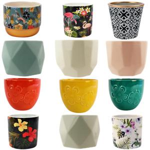 FabFinds Ceramic Planter Indoor Outdoor Round Decorative Flower Plant Pots