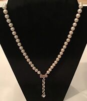 Double Strand Pearls Choker Chain with Silver Heart Tail Adjustable Necklace