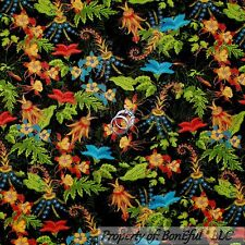 BonEful Fabric FQ Cotton Quilt Black Blue Red Flower Gold Green Leaf Asian S Dot