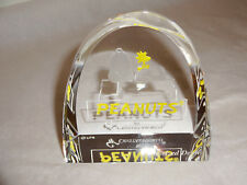 "Crystal World 3"" Peanuts Logo Marker Dealer Sign Snoopy & Woodstock QC#51 RARE"