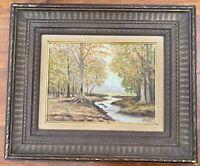 Original Oil Landscape River Forest Painting Vintage Antique Cove Frame