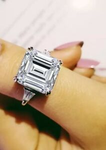 10ct asscher cut cz silver engagement ring size 7