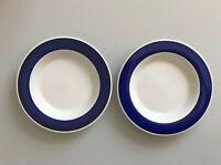 2x tiefe Teller KAHLA Andante / blauer Rand / Kobaltblau / DDR / GDR / Mitropa