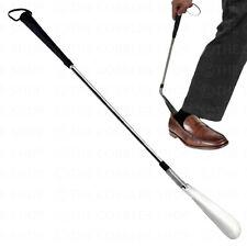 "Premium Long-Handle ""Jockey"" Shoe Horn-Flexible End for Easy Use-Stainless Steel"