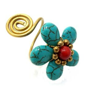 HANDMADE BEADED SIMULATED CORAL & TURQUOISE FLOWER STATEMENT RING, ADJUSTABLE